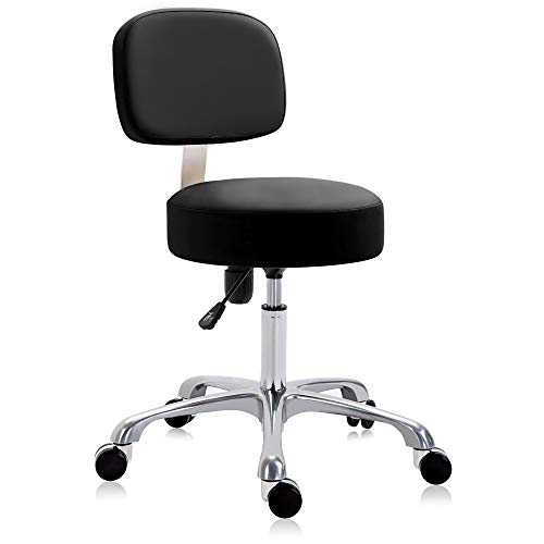 DR.LOMILOMI Extra-Wide Seat Rolling Swivel Clinic Medical Salon Stool Chair with Memory Foam 502 (with Backrest, Black)