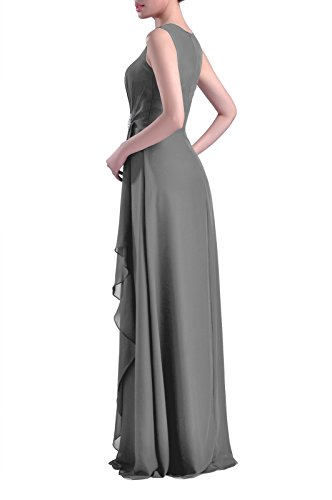 Bateau Natrual Adorona Chiffon Long Women's Pewter Dress Sleeveless Straps Sheath qx7waI