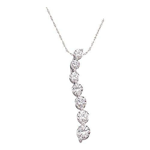 Sonia Jewels 1/4 cttw. Diamond Ladies Journey Pendant 14K White Gold