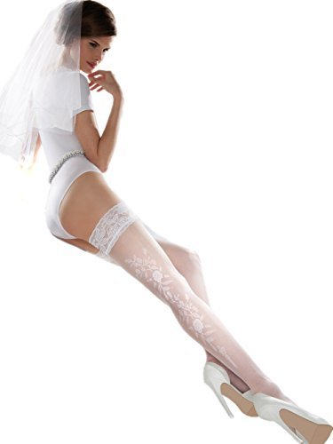 Wedding collection white transparent thigh high with stunning wide lace by Gabriella