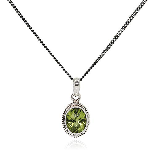 Luna Azure Peridot Pendant 925 Sterling Silver Oval Shape Necklace,18