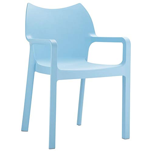 Compamia Diva Resin Outdoor Dining Arm Chair [Set of 4] Light Blue ()