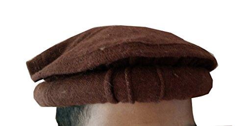 Handmade Wool Cap - 100% wool Handmade Chitrali Cap/Afghani Pakol (Hat) from Pakistan & Afghanistan (Dark Brown)