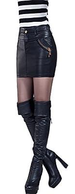 Abetteric Women Fall Career Silm Fall Winter Slim Fit Mini Skater Skirt
