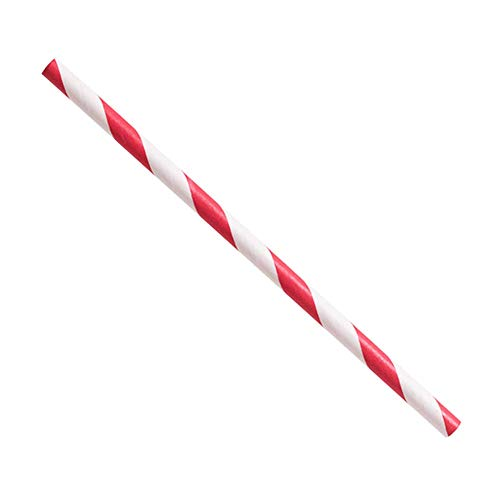 5.25 Red/White Stripe Paper - Unwrapped Stripe Straws Red