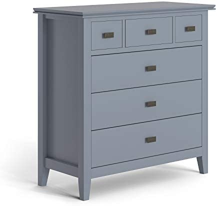Simpli Home Artisan SOLID WOOD 36 inch Wide Contemporary Bedroom Chest of Drawers in Storm Grey