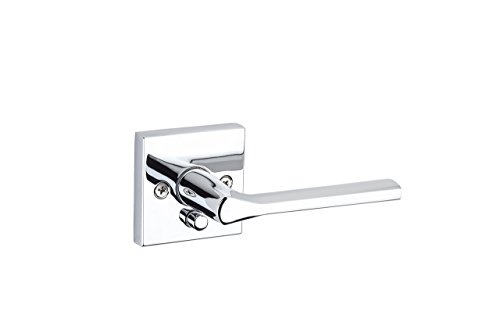 - Kwikset 91550-023 Lisbon Door Handle Lever with Modern Contemporary Slim Square Design for Home Bedroom or Bathroom Privacy In Polished Chrome