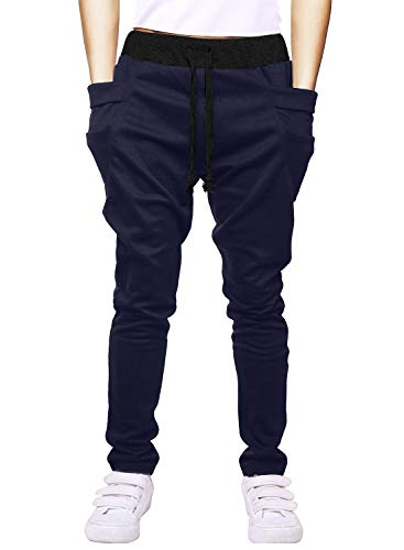 Boy's Cotton Sweatpants Adjustable Waist Jogger Pants Trousers in Basic Colors,Dark Gray,Tag size 120=4 ()