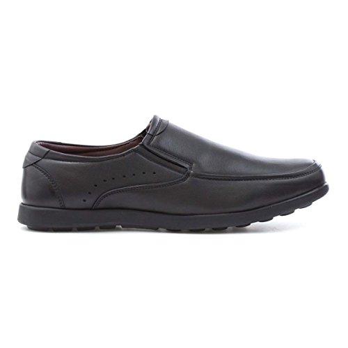Dr Keller resbalón de Cuero Negro Zapato de La Comodidad Para Los Hombres Negro