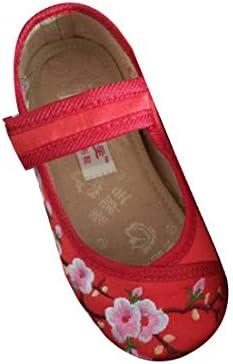 女の子の刺繍の靴中国風のパターンの靴プラットボトムダンスシューズ