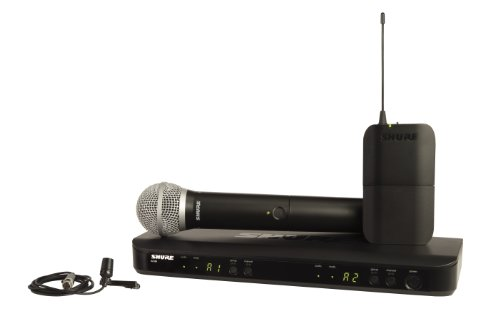 Shure BLX1288/CVL Dual Channel Combo Wireless System with PG58 Handheld and CVL Lavalier Microphone, (Dual Channel Handheld)