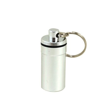 Waterproof Airtight Pill Fob Holder Med Rx Box Keychain  Silver  By Apothecary