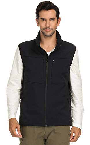 MIER Men's Water Resistant Softshell Vest Lightweight Travel Vest with 9 Pockets, Fleece Lined and Front Zip, Black, M