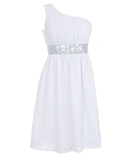 Beaded Green Chiffon One Brautjungferkleider Shoulder Kurz White Waist Fanciest Damen pq4HwSZI