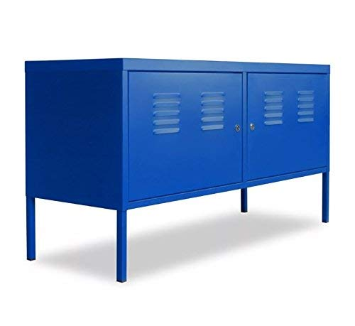 h4home Industrial Metal Cabinet Garage Storage Unit Tool Locker Steel Cupboard Rack Shelves Small Shelving Large TV Sideboard Home Stand Console Table 2 Doors Loft Vintage Urban Retro Style Room Blue