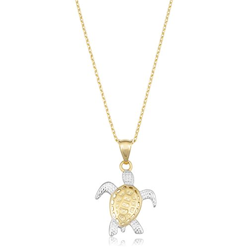 (Kooljewelry 14k Two-Tone Gold Turtle Necklace (18 inch))