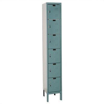 Hallowell U1258-6A-GM Premium Box KD Metal Locker, Unassembled, 1-Wide Grouping, 6 Tier, (Kd Lockers)
