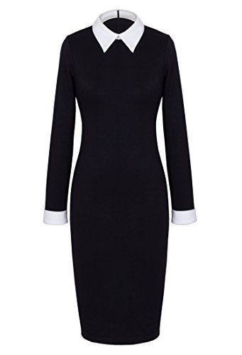 HOMEYEE Women's Celebrity Turn Down Collar Business Bodycon Dresses (S, Black)]()