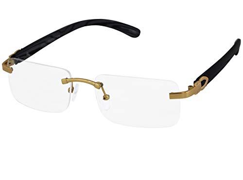 Elite Slim Rimless Rectangular Clear Lens Metal & Wood Art Aviator Sunglasses (Gold Clear - D.Brown Wood)