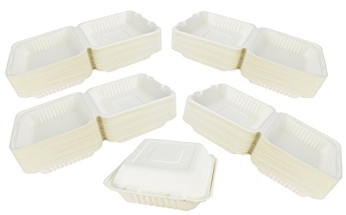 Green Earth 8-Inch, 200-Count, 1-Compartment, Compostable Clamshell, Natural Bagasse (Sugarcane Fiber), Take-Out/To-Go Food Boxes - Biodegradable Containers, Hinged Lid - Microwave-Safe - Gluten-Free