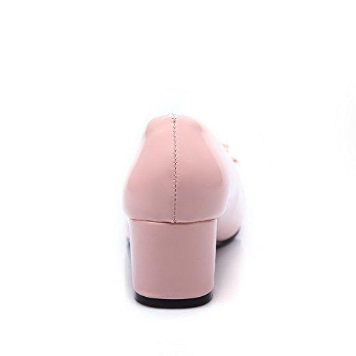 BalaMasa Womens Chunky Heels Low-Cut Uppers Pull-On Urethane Pumps-Shoes Pink uryxoQ4MK