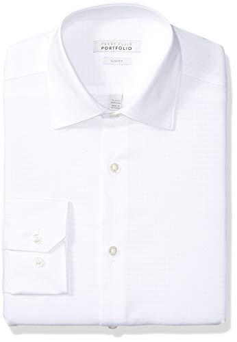 (Perry Ellis Men's Slim Fit Wrinkle Free Dress Shirt, White Tonal Dobby, 15.5 34/35)