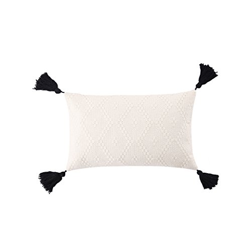 (Ojia Tribal Pillow Cover Throw Woven Cotton Tassel Cushion case for Home, Party, Car, Office and Outdoor Decoration (12 x 20 Inch,Cream)
