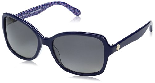 Kate Spade Women's Ayleen Polarized Rectangular Sunglasses, PATRN Blue, 28 mm ()