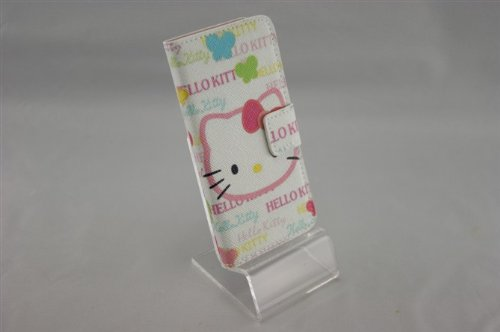 Flip White Earrings - Hello Kitty iPhone 5 Wallet Case White Flip Open with Magnetic Close + Hello Kitty Bronze Drop Earrings