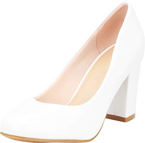 Cambridge Select Women's Classic Round Toe Chunky Wrapped Block High Heel Pump,6.5 B(M) US,White Patent PU