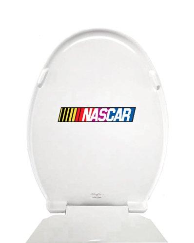 New White Finish Molded Wood Elongated Toilet Seat featuring Nascar Racing Logo