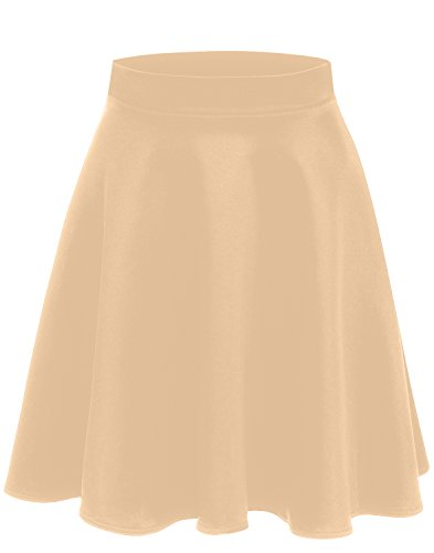 Beige Skirt Womens (Simlu A Line Midi Skirt Flared and Pleated Midi Skirt for Women - Made in USA, Beige, Medium)