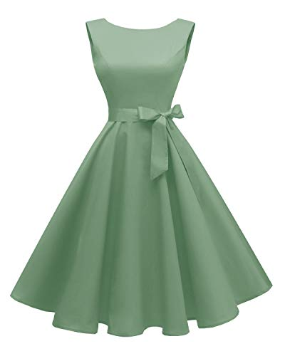 Hanpceirs Women's Boatneck Sleeveless Swing Vintage 1950s Cocktail Dress Grayishgreen M ()