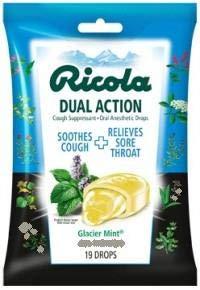 - Ricola Cough Suppressant Drops Dual Action Glacier Mint - 19 ct, Pack of 4
