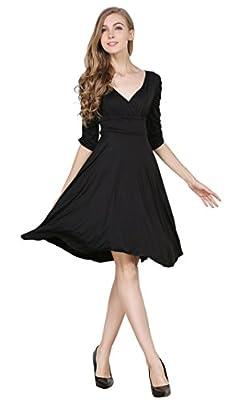 Women's 3/4 Sleeve V-Neck Ruched Waist Cocktail Swing Slim Dress