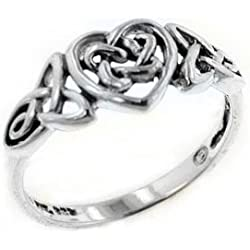 Sterling Silver Celtic Trinity Knot Heart Ring Valentine's Day gift