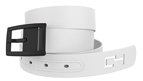 C4 Classic Belt: White Strap with Black Buckle - Fashion Belt - Waist Belt (Belted Classic Belt)