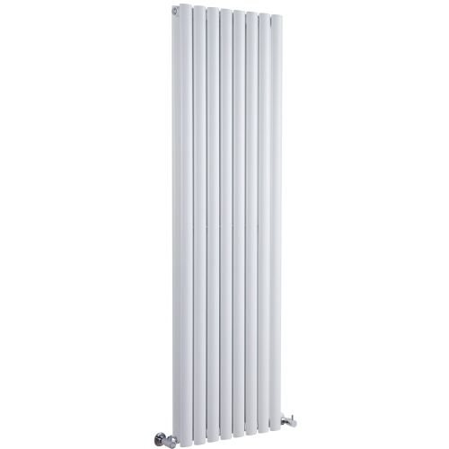 New Revive Luxury White Vertical Double Designer Radiator Heater Steel Hydronic Warmer - 70'' x 18.6'' - Chrome Angled Valves & Wall Fixing Brackets Included by Hudson Reed