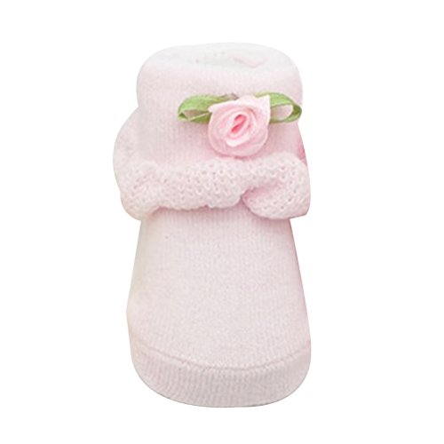 Zhhlinyuan Toddler Girls Bebé Princess Cotton Socks Cute Ribbon Lace Sock 0-6 months Pink