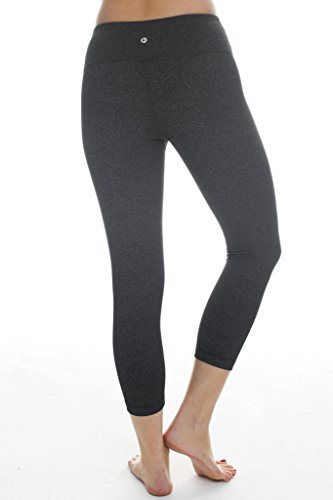 90 Degree By Reflex Yoga Capris - Yoga Capris for Women - Hidden Pocket - Black and Heather Charcoal 2 Pack - XS by 90 Degree By Reflex (Image #5)