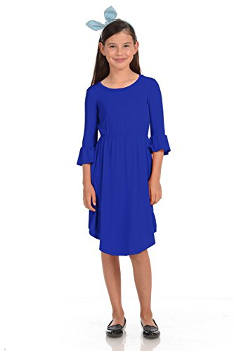 Honey Vanilla Girls' Fit and Flare Midi Dress with Bell Sleeve Small 5-6 Years Royal Blue ()