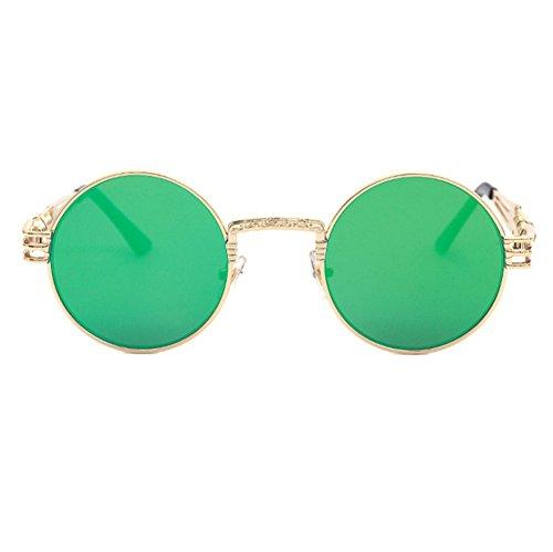 de Personnalité Rétro Punk Lunettes Classique Vert Réfléchissant Or Soleil Rond UV400 Keephen Cadre Coloré qzEtRwgnxn
