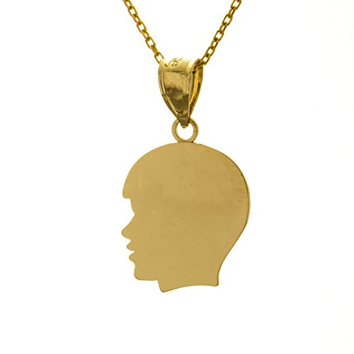 Boy Head Silhouette Charm - 14k Yellow Gold Engraveable Charm Pendant with Chain, Medium Boy Head Silhouette, High Polish
