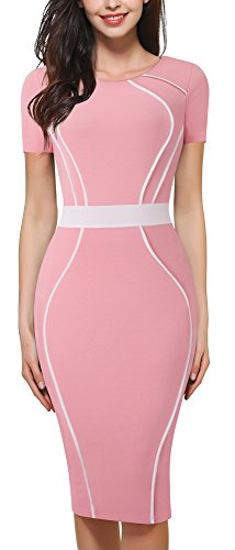 HOMEYEE Women's Elegant Round Collar Short Sleeve Kneelength Wear To Work Formal Dress B389 (6, Light - To Black Pink