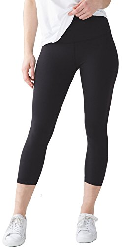 FIRM ABS Women's Yoga Running Workout Capri Legging Hidden Pocket,X-Small,Black