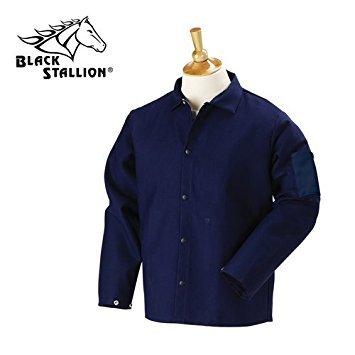 Black Stallion FN9-30C 30'' 9oz. Navy FR Cotton Welding Jacket, Large by Black Stallion