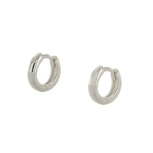 (Columbus 14K Gold or Rhodium Plated Huggie Hoop Earrings - Small Sleeper Hoops - Tiny Hug Earrings (Silver 9mm))