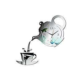 ONLY-FOR-ME-1 Creative DIY Acrylic Coffee Cup Teapot 3D Wall Clock Decorative Kitchen Wall Clocks Living Room Dining Room Home Decor Clock,Light Grey