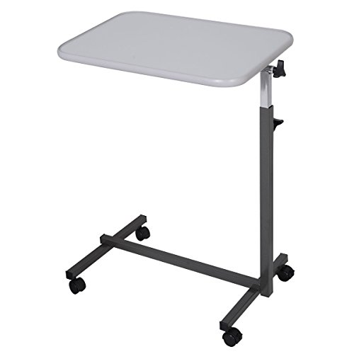 (DreamHank Medical Adjustable Overbed Table with Wheels for Hospital and Home Use (Gray))