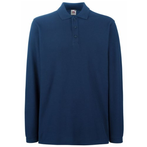 Fruit Of The Loom Premium Long Sleeve Polo Shirt Navy L